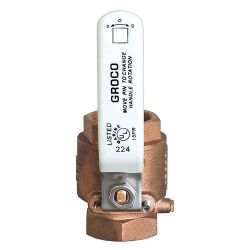 "Groco IBV-1250 Bronze NPT 1-1/4"" Inline Ball Valve 