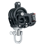 45 mm | Harken 6243 - Aluminum Element Triple Block — Swivel, Becket, Cam Cleat